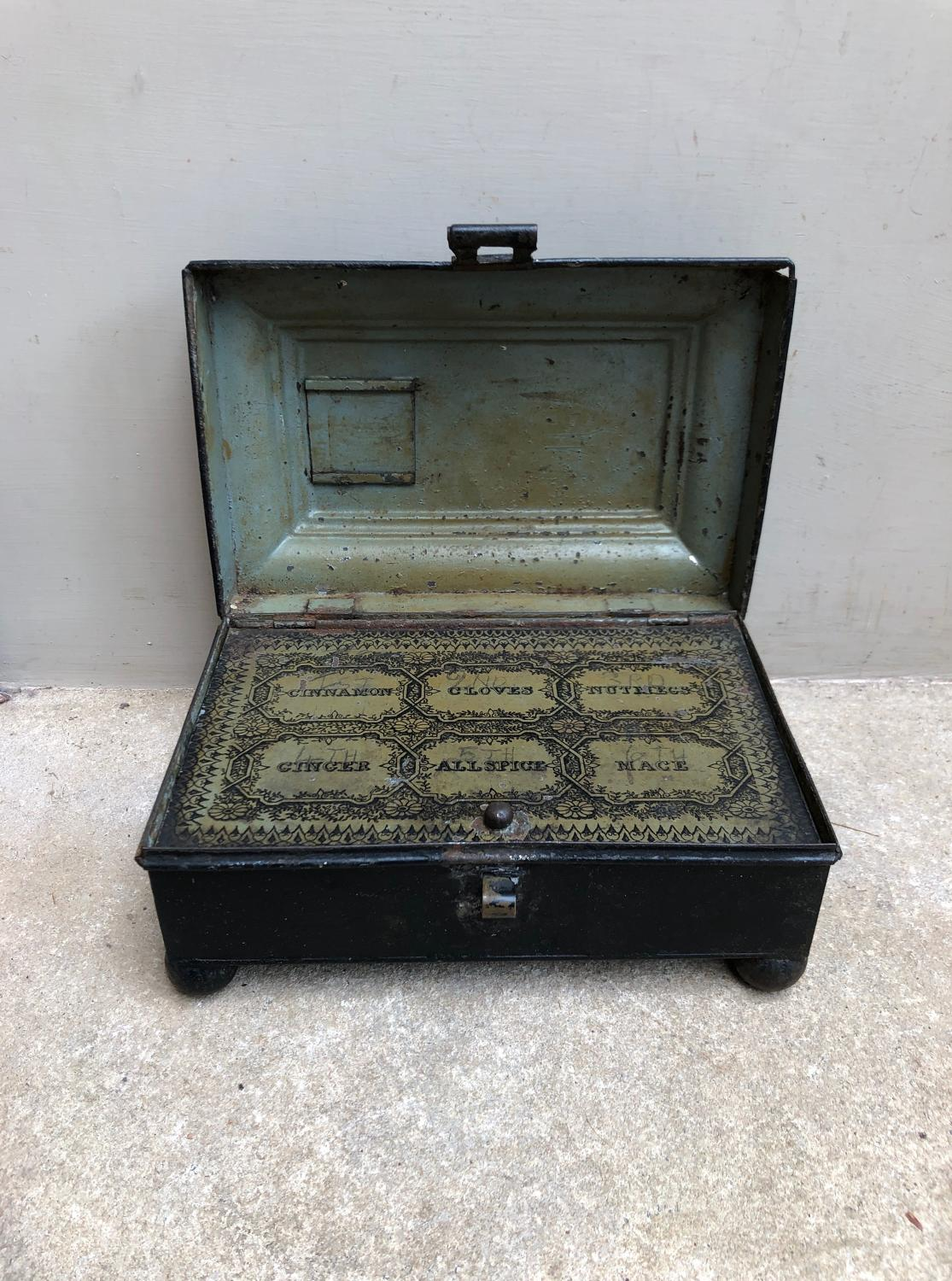 Victorian Toleware Spice Tin - Beautiful Spice Labelling Inside