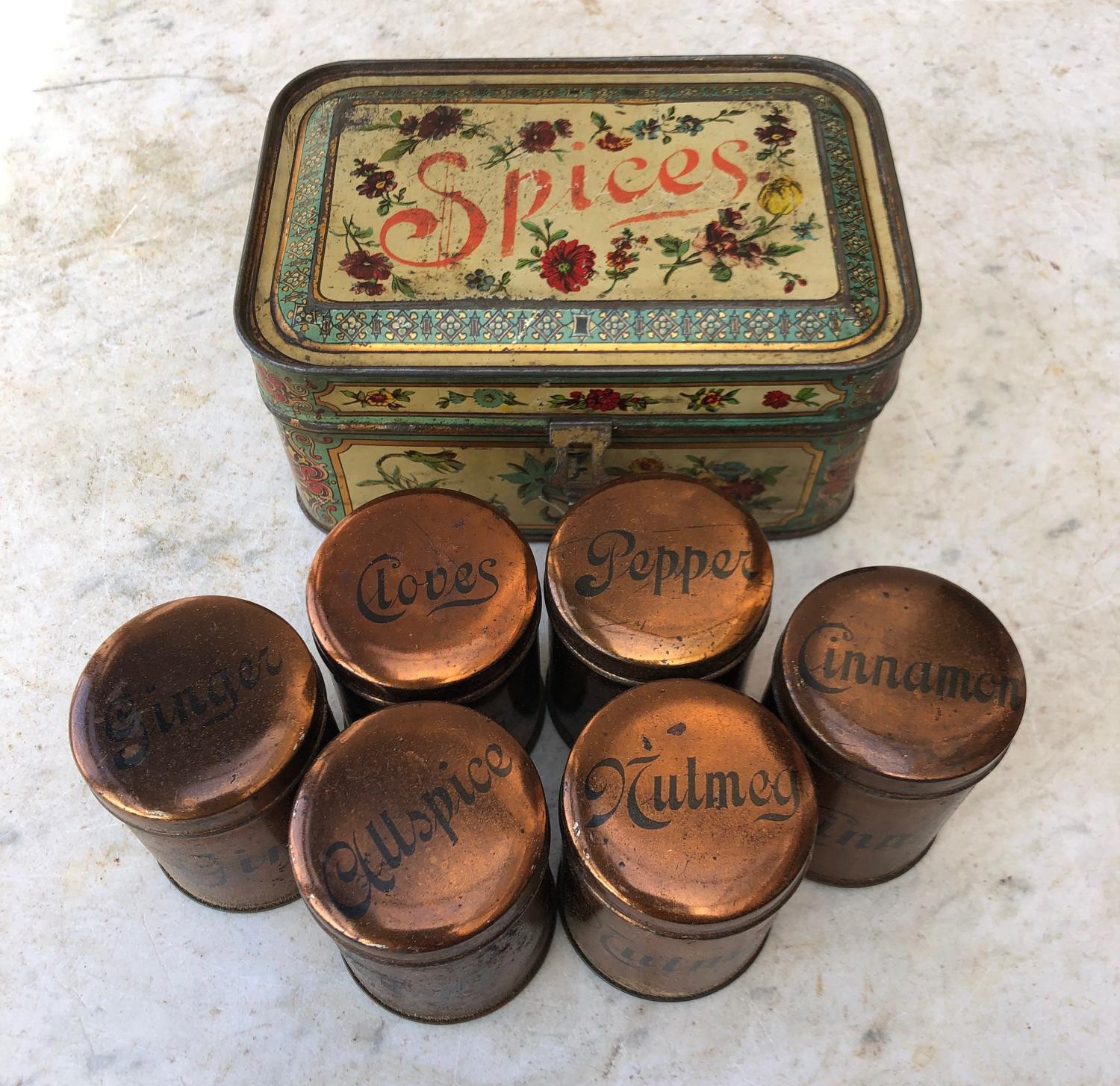Early 20th Century Spices Box - Complete with Six Spice Tins