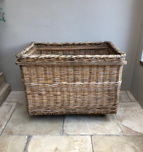 Huge Early 20thC Mill Basket in Excellent Condition - Later Castors