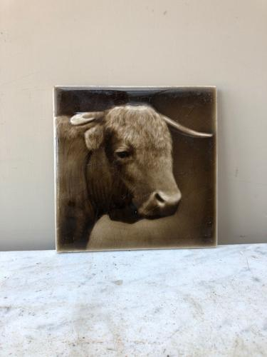 Early 20th Century Sherwins Patent Butchers Tile - Bull