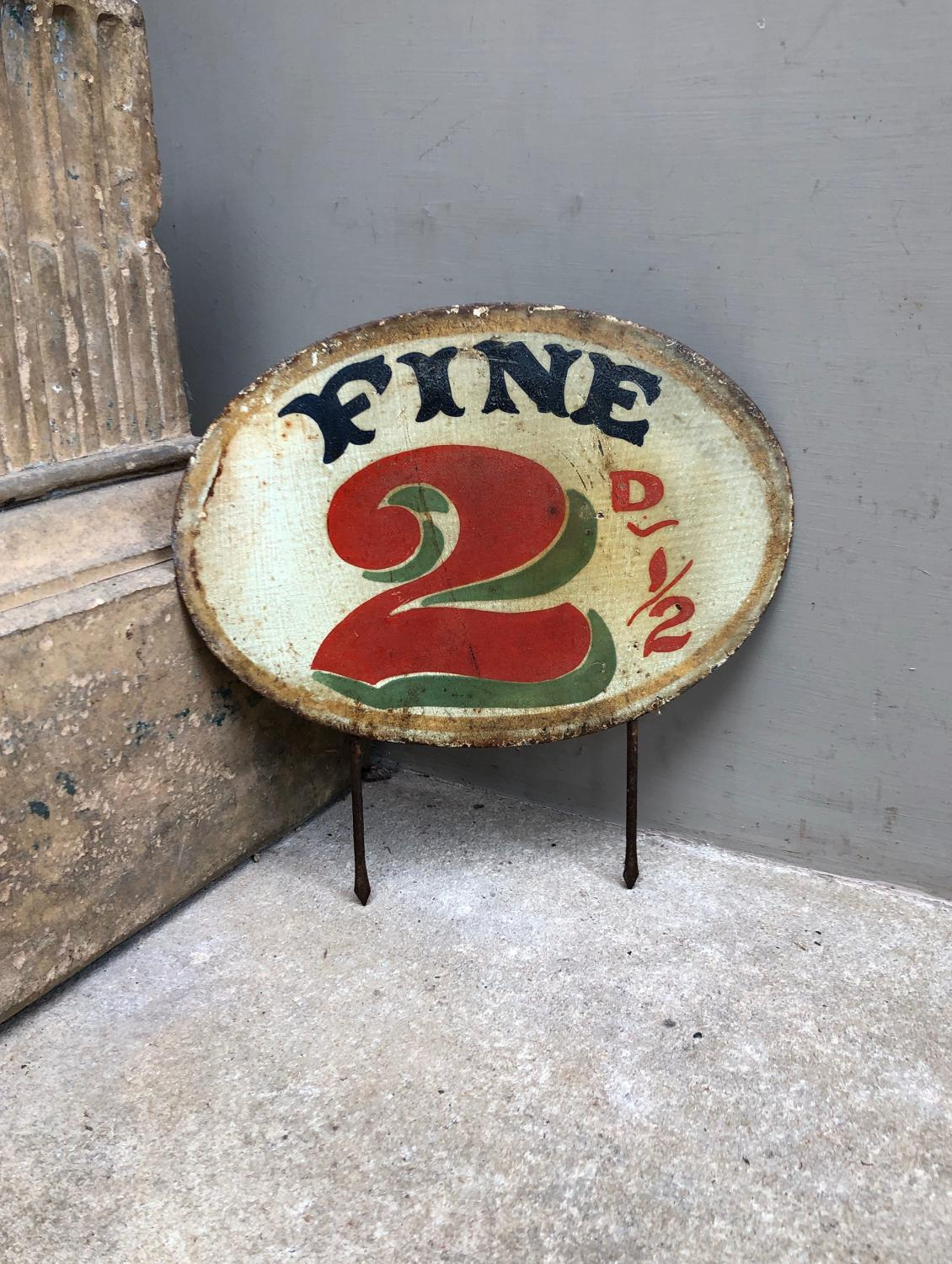 Large Edwardian Hand Painted Grocers Price Sign - Fine 2 1/2D