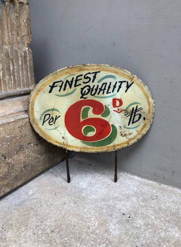 Large Edwardian Hand Painted Grocers Price Sign - Finest Quality 6D LB