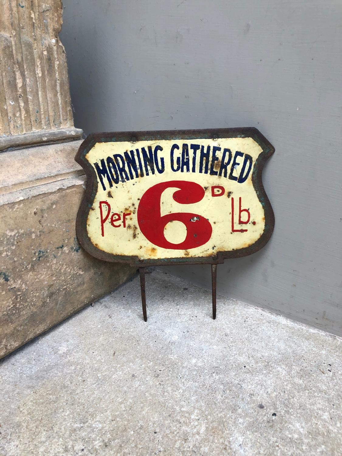 Edwardian Grocers Toleware Price Sign - Morning Gathered Per 6D LB