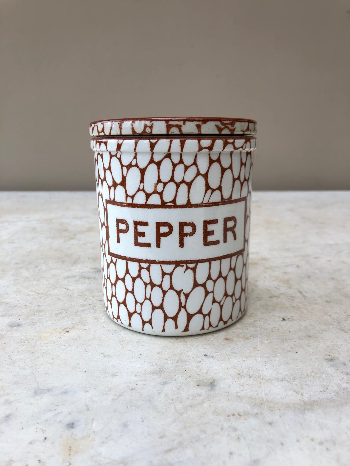 Antique Maling Brown Cobblestone Pepper Jar - Excellent Condition