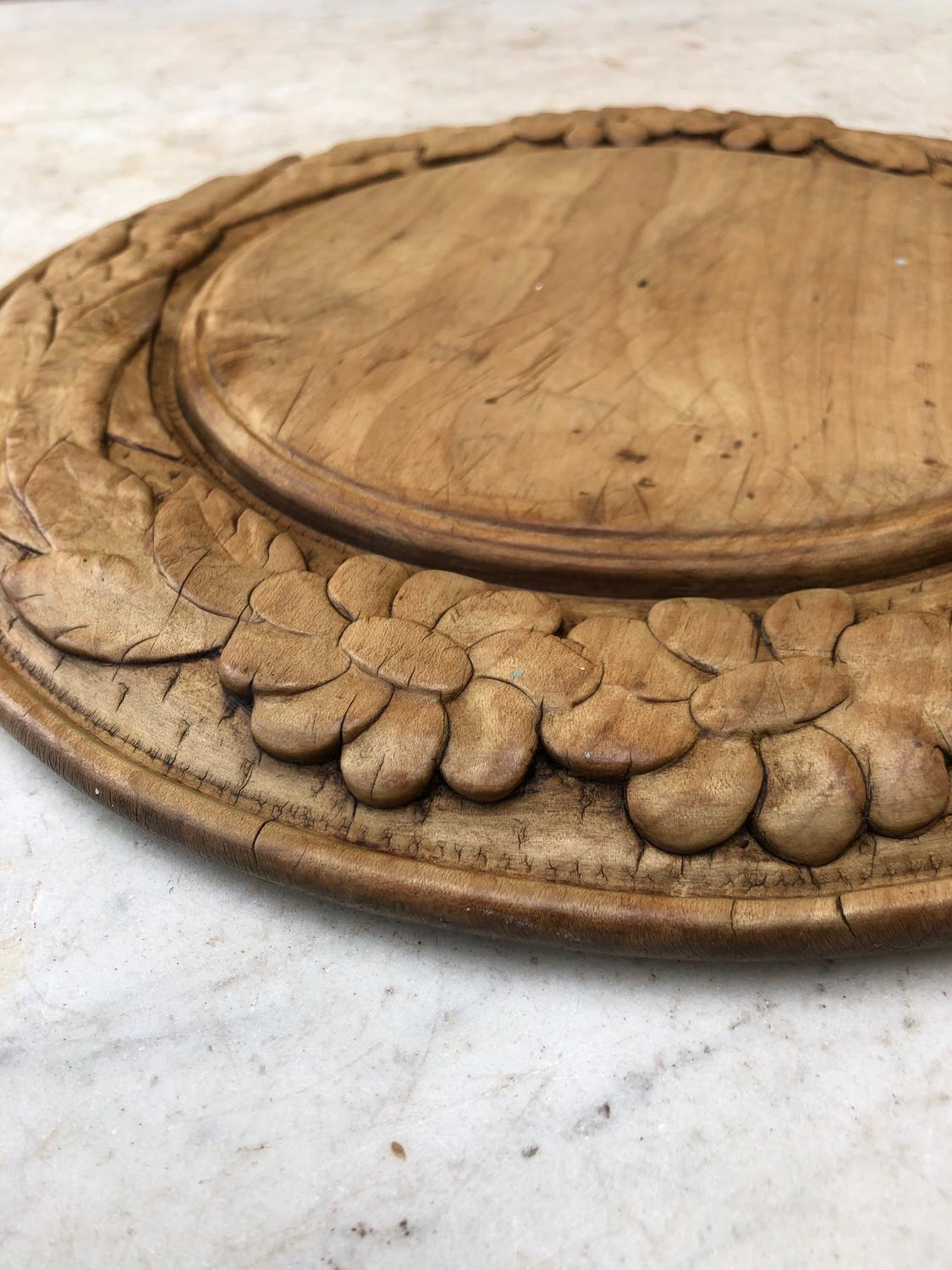 Late Victorian Deeply Carved Bread Board - Flowers & Wheat