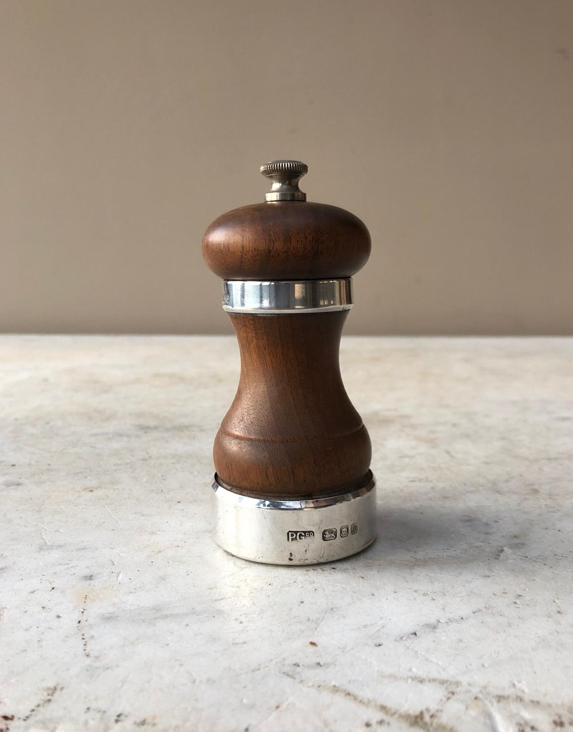 Treen Hallmarked Silver Banded Pepper Mill 1965