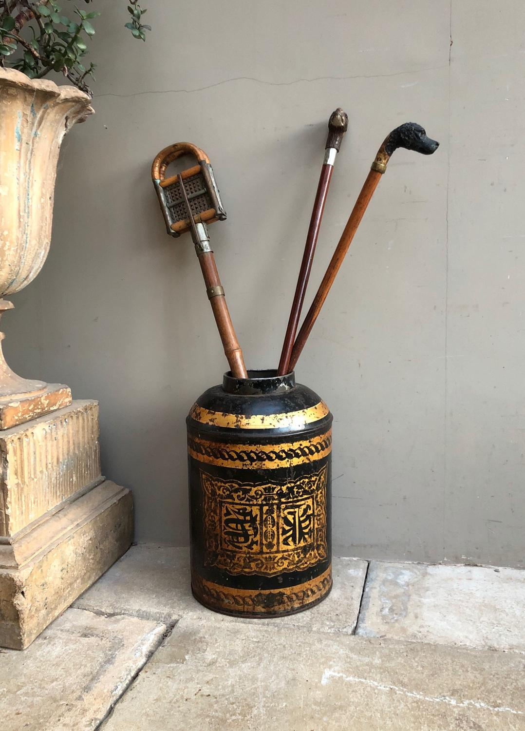 LargeVictorian Toleware Tea Tin Chinoiserie Decoration - Stick Stand