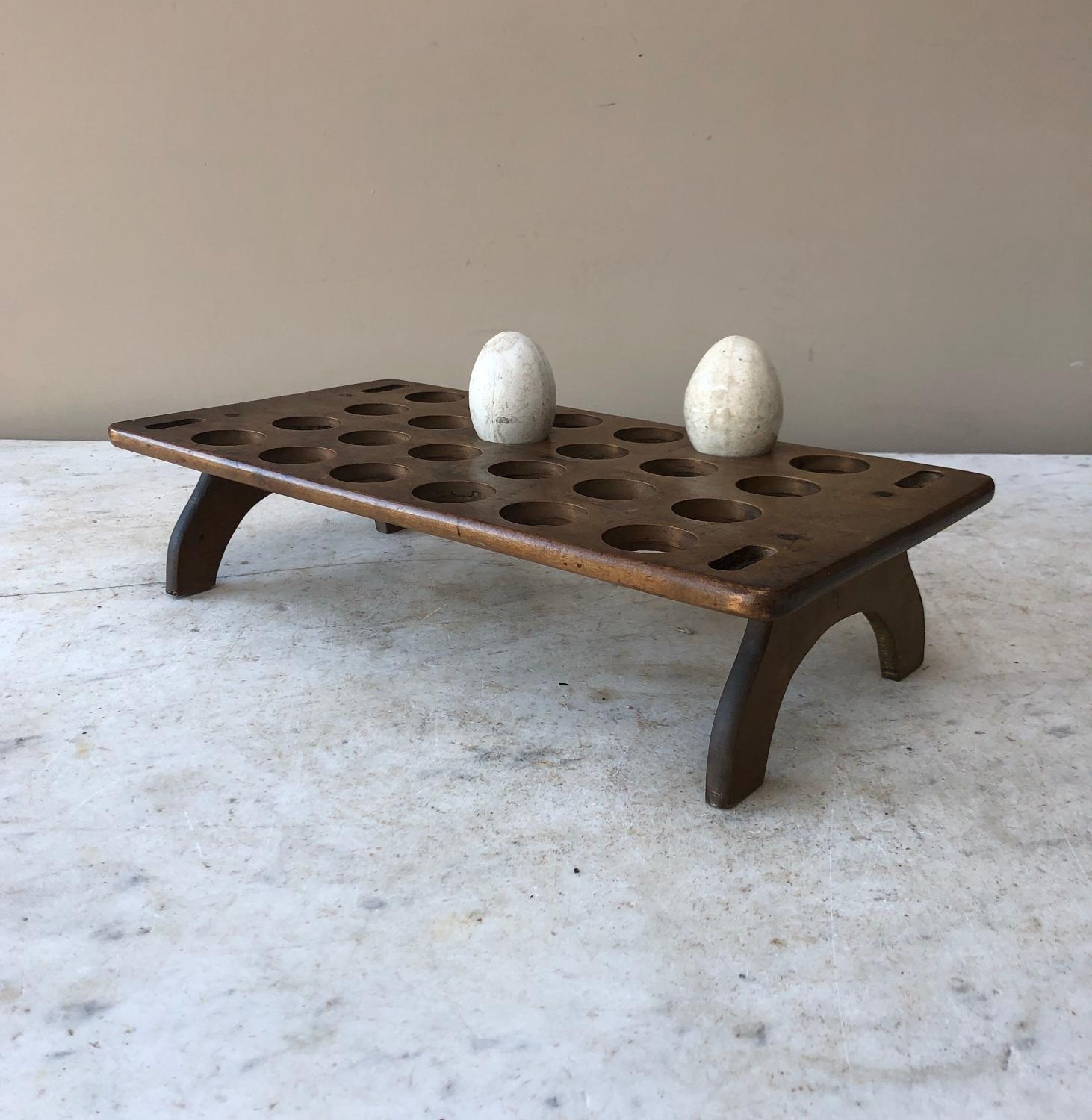 Late Victorian Large Treen Single Tier Egg Rack for 2 Dozen Eggs