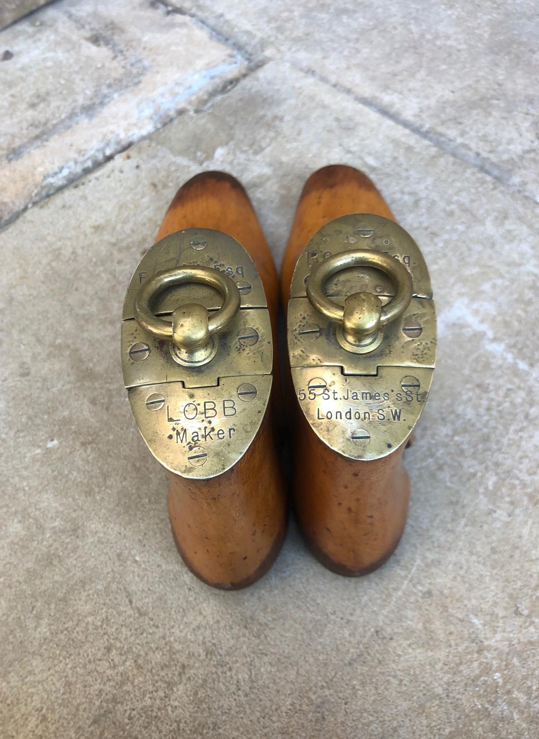 Victorian Treen Boot Trees with Fantastic Brass Tops - Lobb London