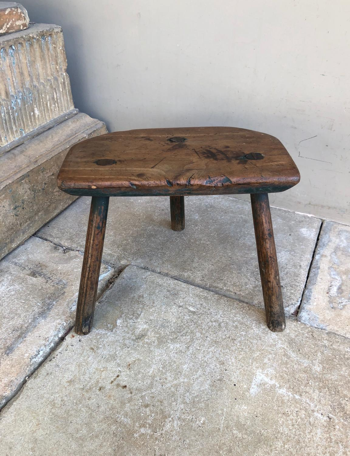 Victorian Elm Three Legged Country Stool