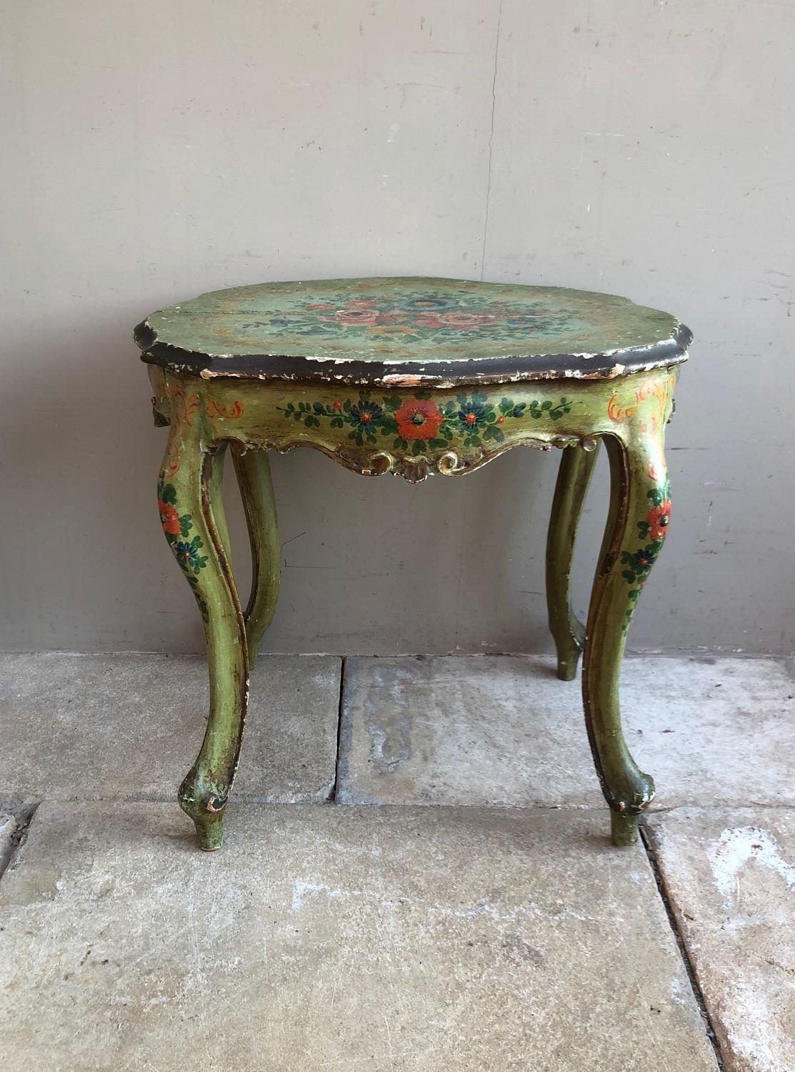 Early 20thC Painted Pine Side or Bedside Table - Original Paint