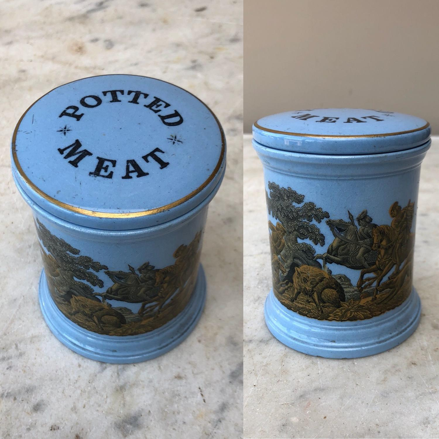 Victorian Blue Potted Meat Pot with Rare Original Lid