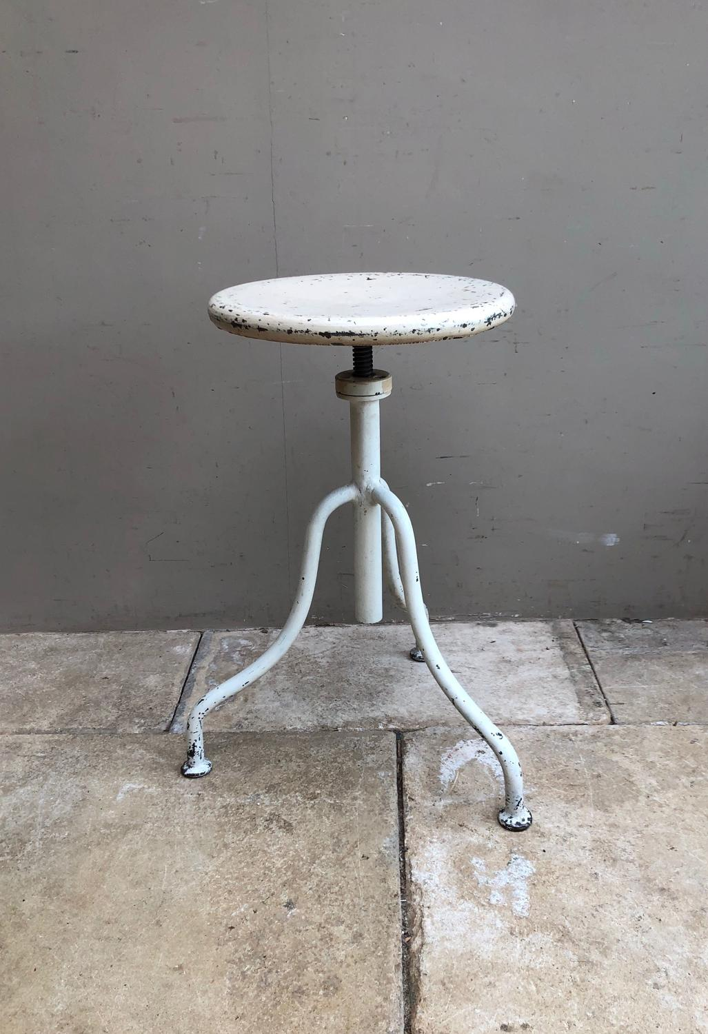 Mid Century White Adjustable Height Industrial - Medical Stool