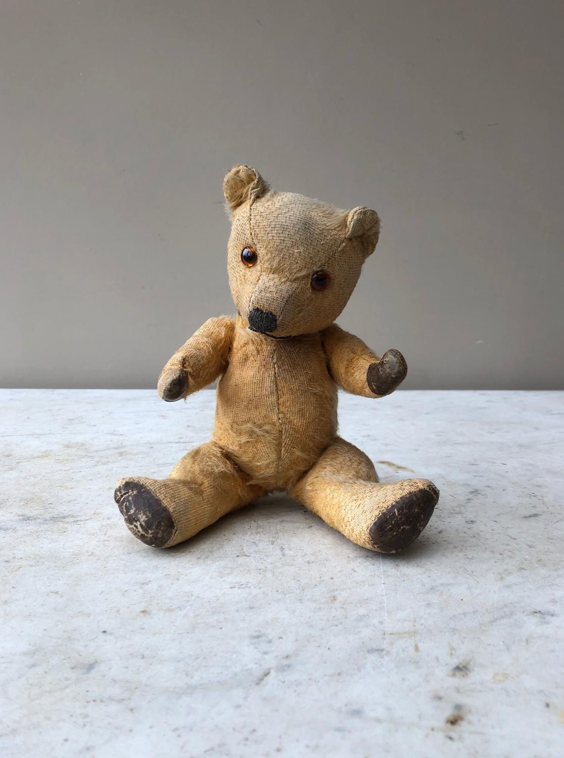 Antique Rarer Small Size Jointed Straw Filled Teddy c.1920