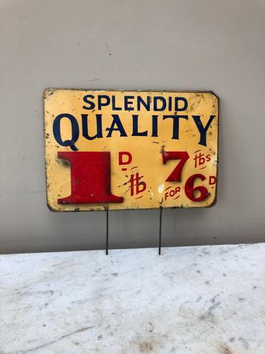 Large Edwardian Grocers Tin Advertising Price Sign - Splendid Quality