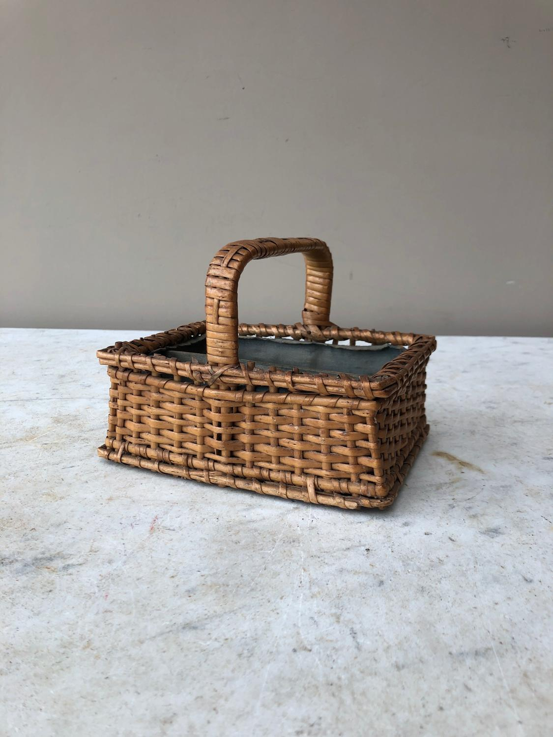 Early 20th Century Childs Basket with Sectioned Interior
