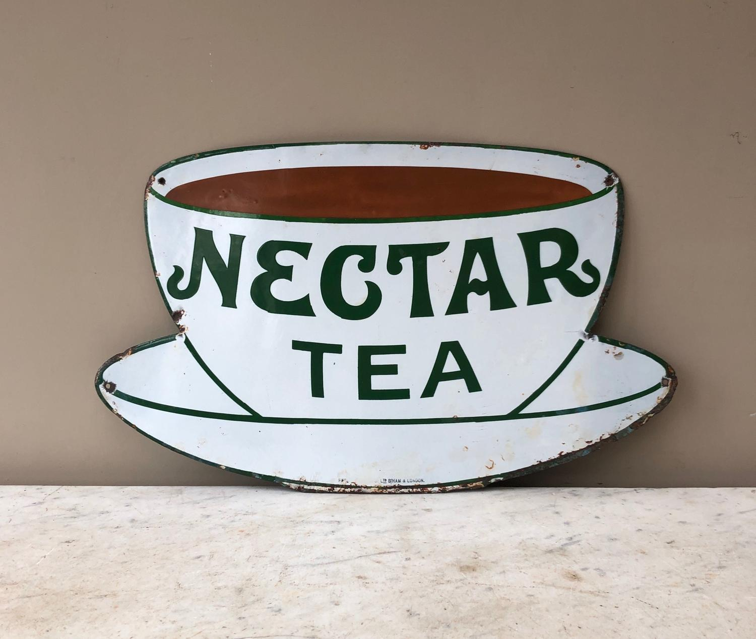 Early 20th Century Enamel Advertising Sign - Nectar Tea