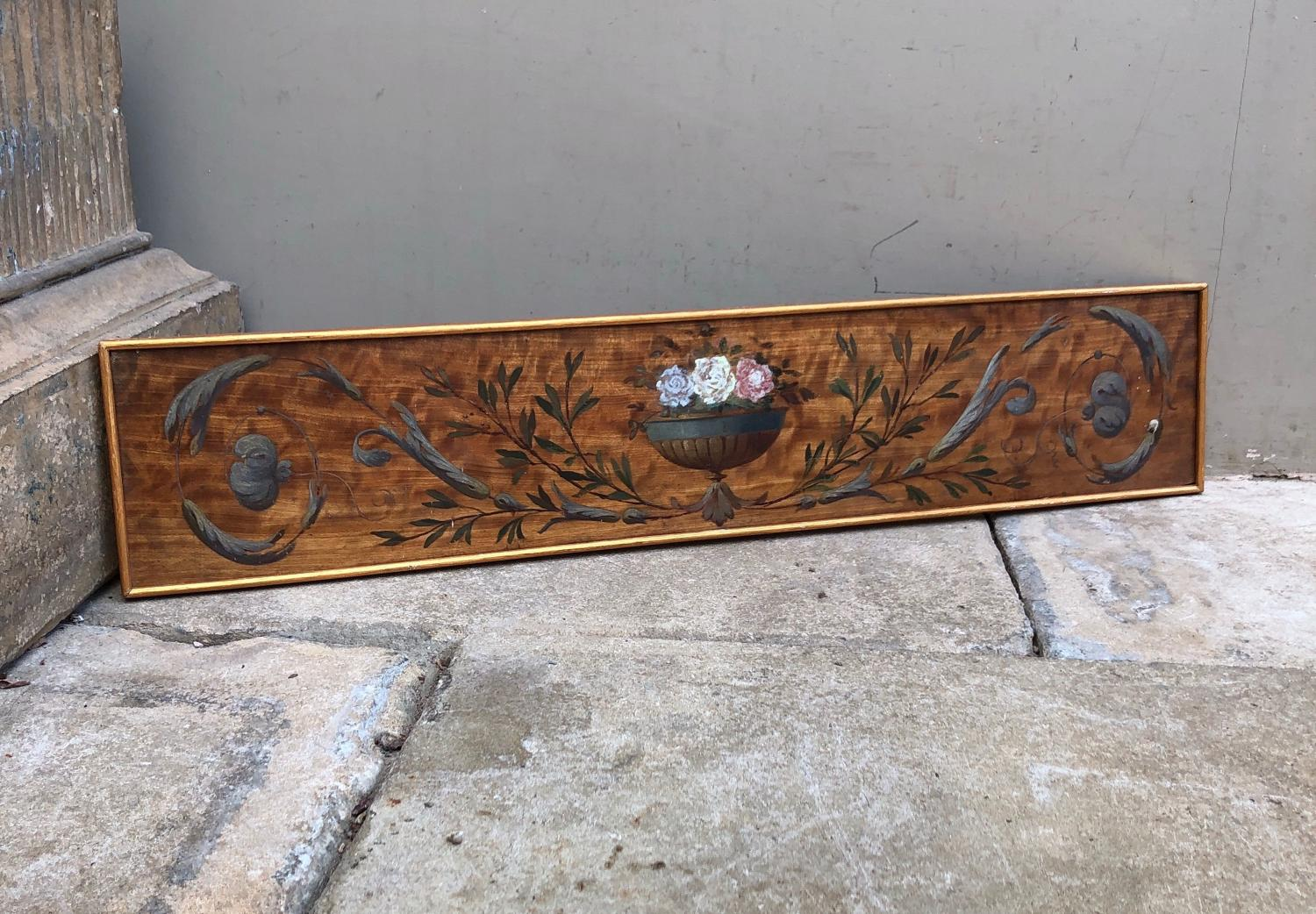 Early 20th Century Hand Painted Decorative Panel-Urn Flowers & Swags