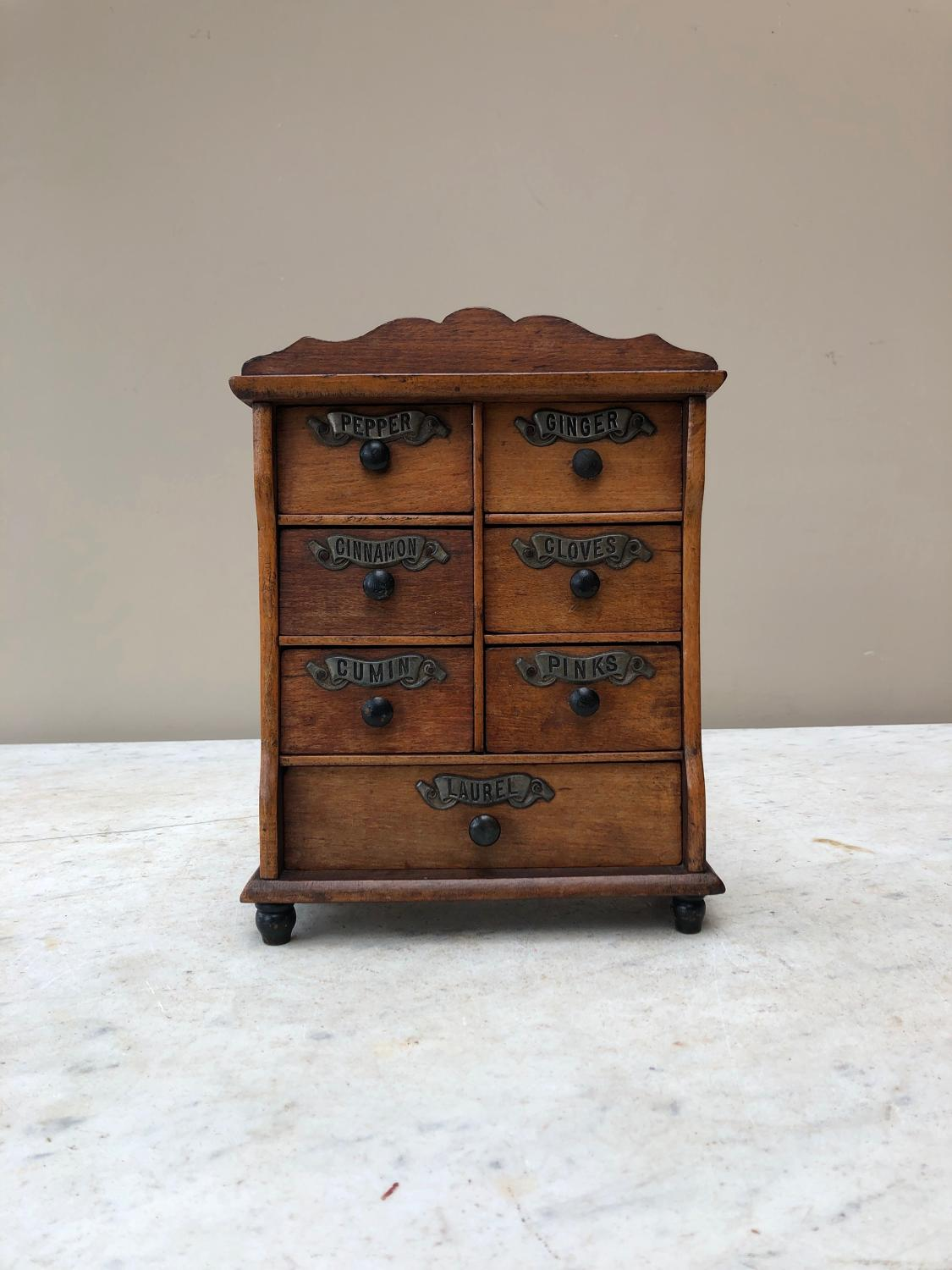 Victorian Treen Spice Chest of Seven Drawers Full Set Original Labels