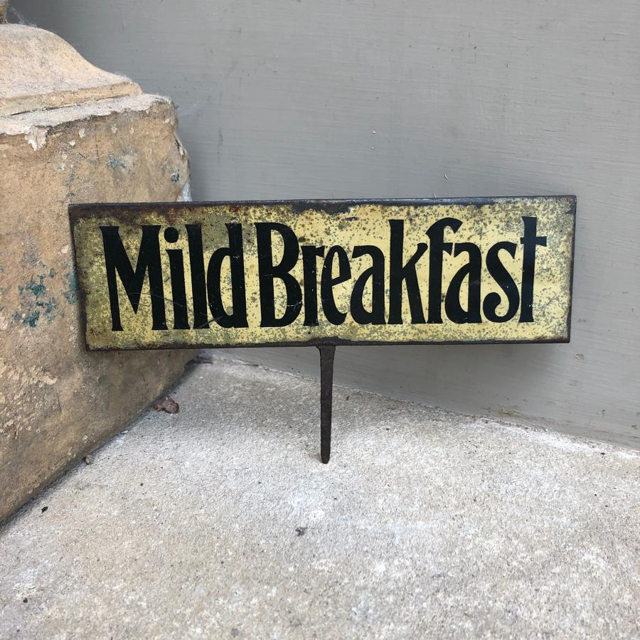 Edwardian Tin Grocers Advertising Sign - Mild Breakfast