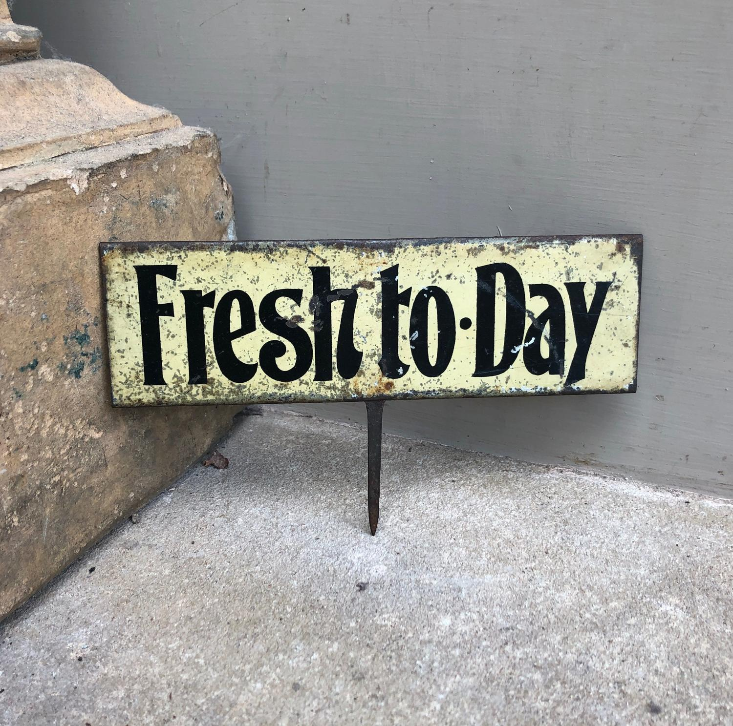 Edwardian Tin Grocers Advertising Sign - Fresh to-Day