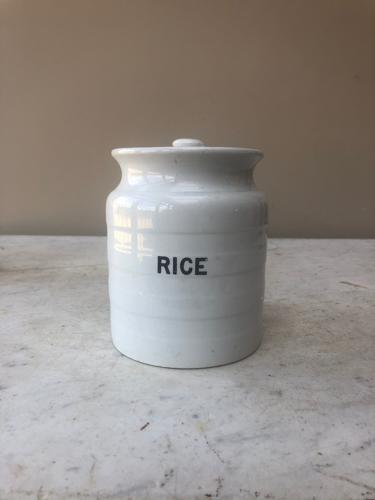 Early 20thC White Banded Kitchen Storage Jar - Rice