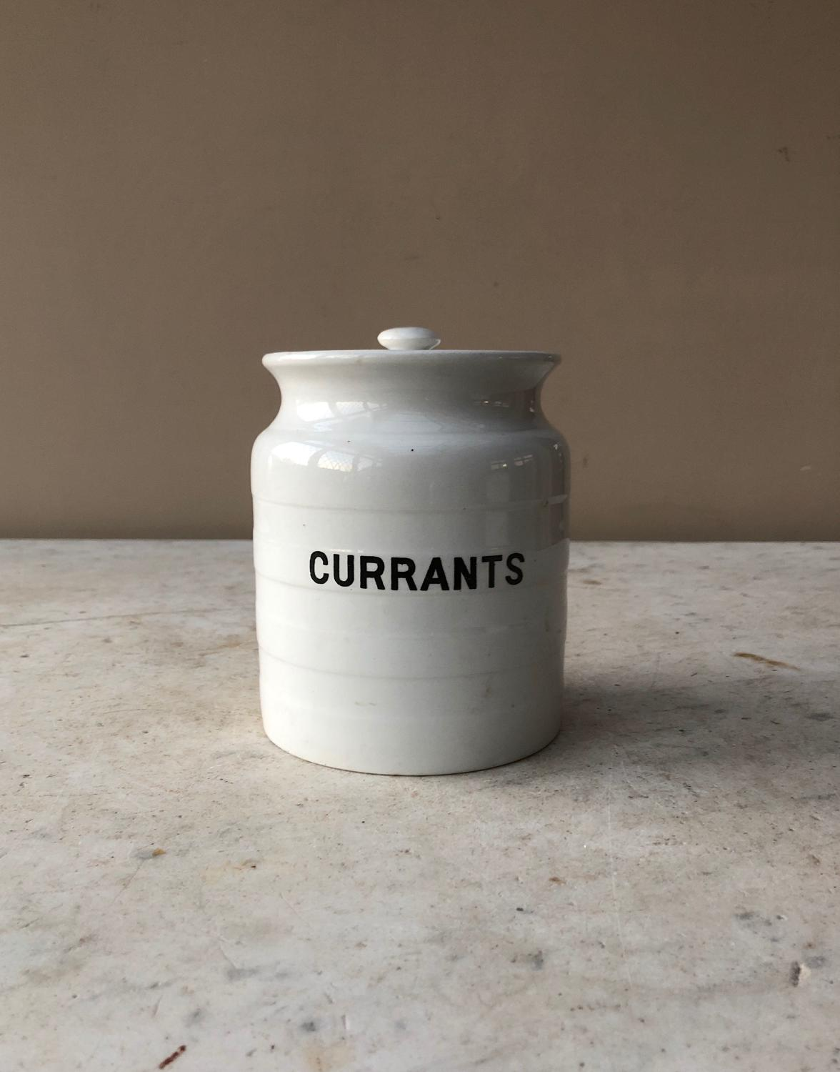 Early 20thC White Banded Kitchen Storage Jar - Currants