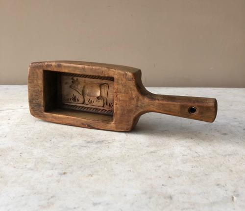 Edwardian Carved Treen Cow Butter Stamp with Handle