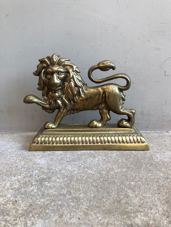Late Victorian Heavy Lion Doorstop on Plinth Base.