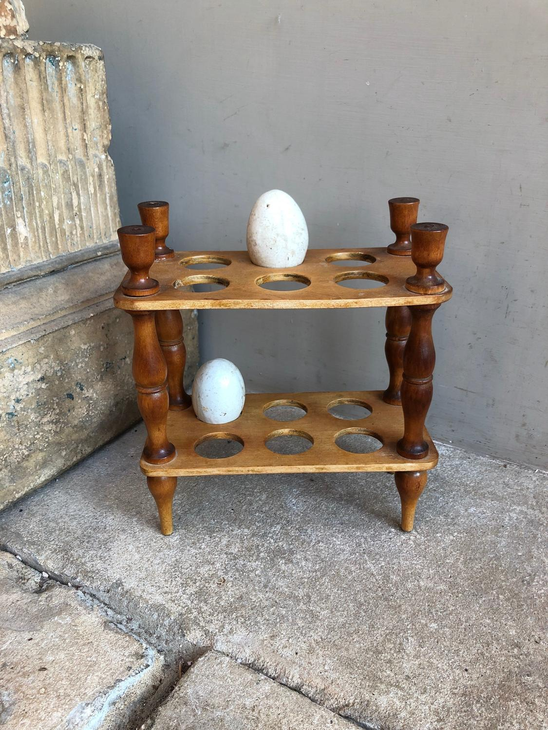 Early 20th Century Treen Two Tier Small Egg Rack - 1 Dozen Eggs