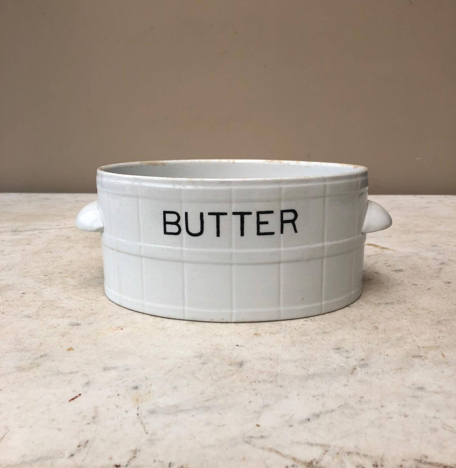 Edwardian White Ironstone Banded Butter Dish with Side Handles