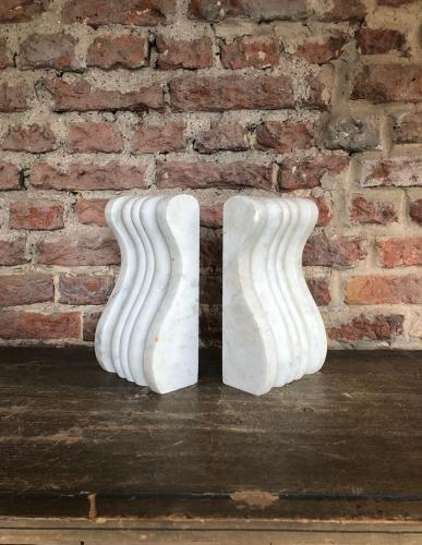 Victorian Carved White Marble Corbels - Perfect Bookends