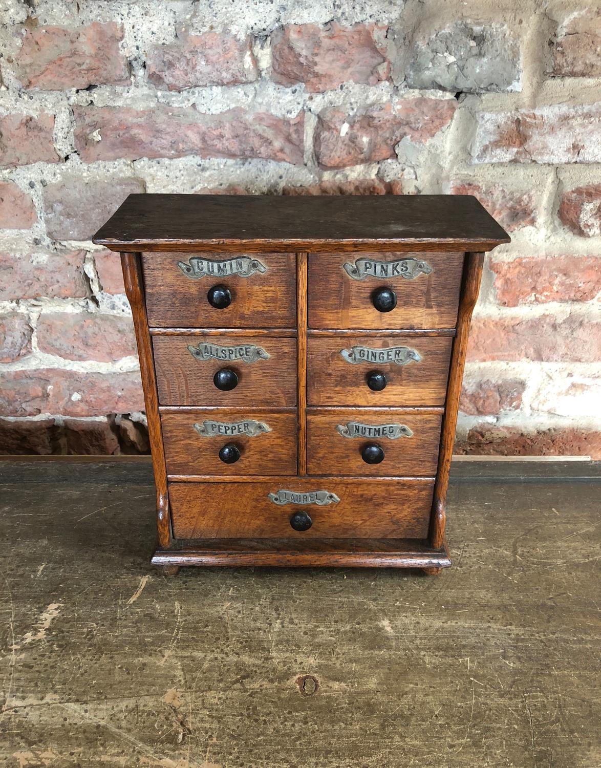 Large Victorian Treen Spice Chest of Seven Drawers