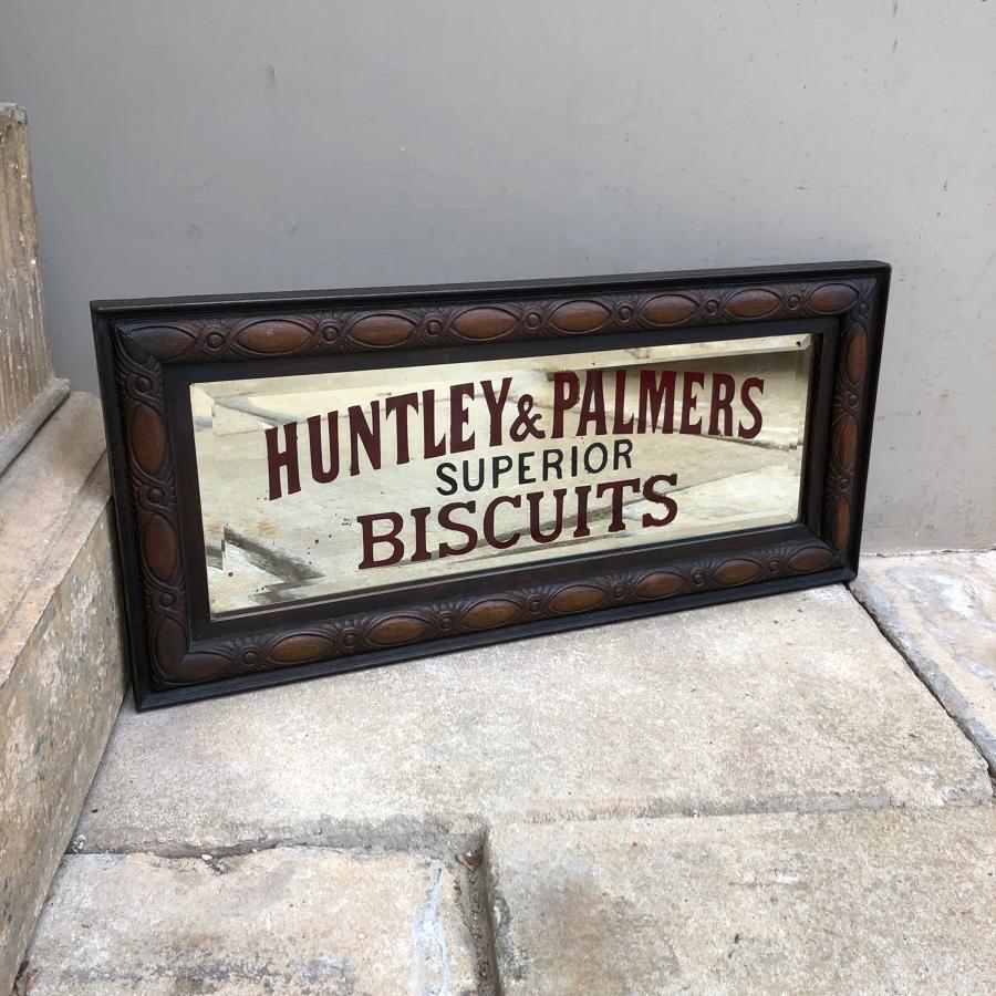 Rare Edwardian Shops Advertising Mirror - Huntley & Palmers Biscuits