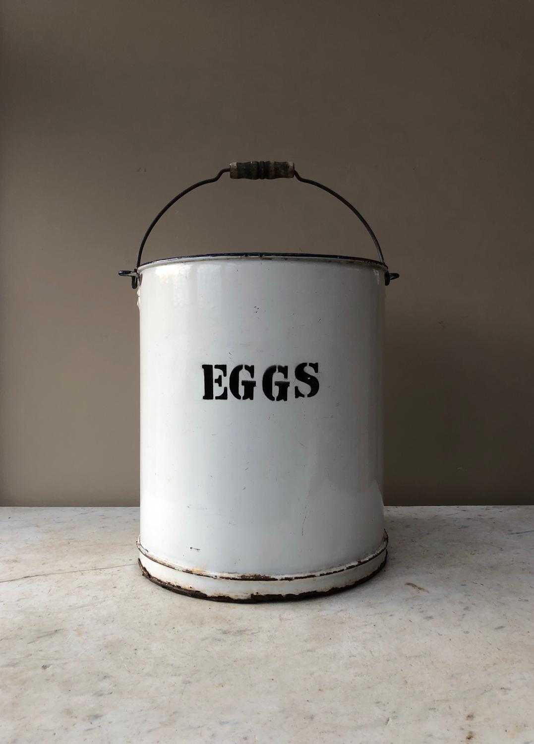 Very Large Early 20th Century White Enamel Eggs Bin