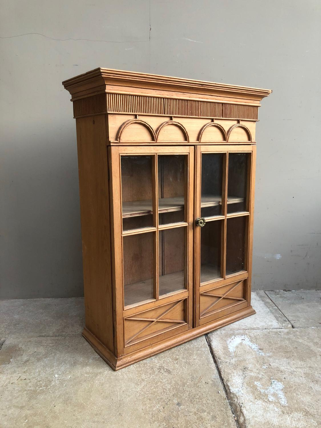 Victorian Glass Panelled Front Shelved Wall Cupboard