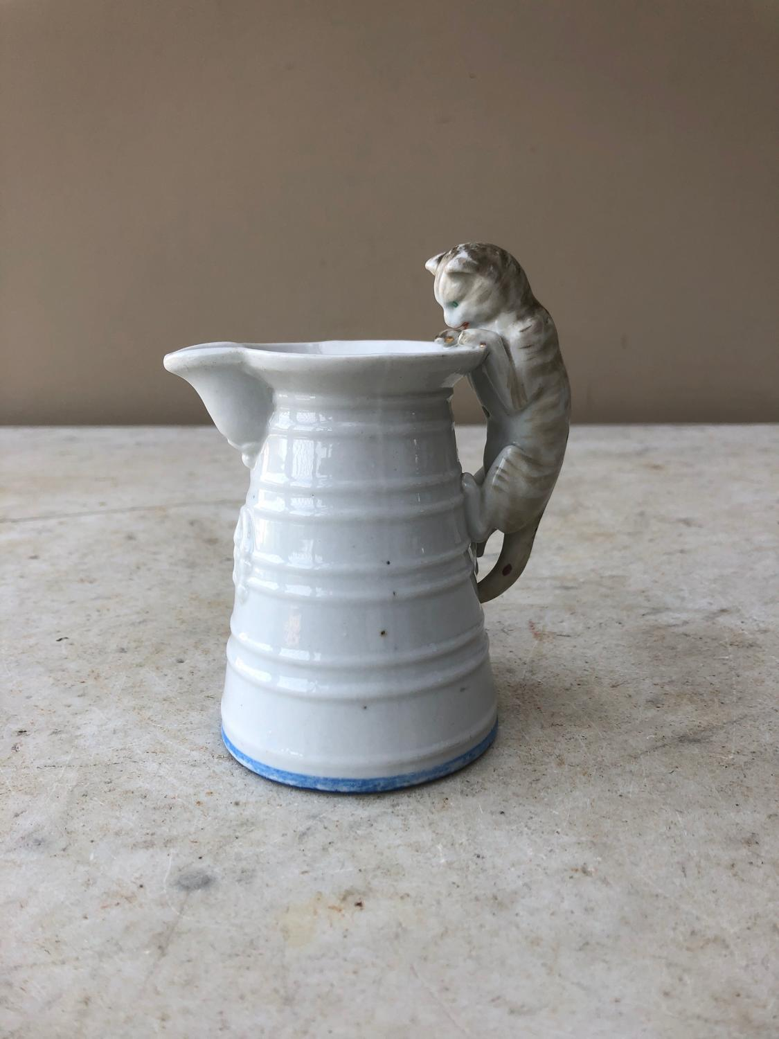 Early 20th Century Cat That Got The Cream Jug