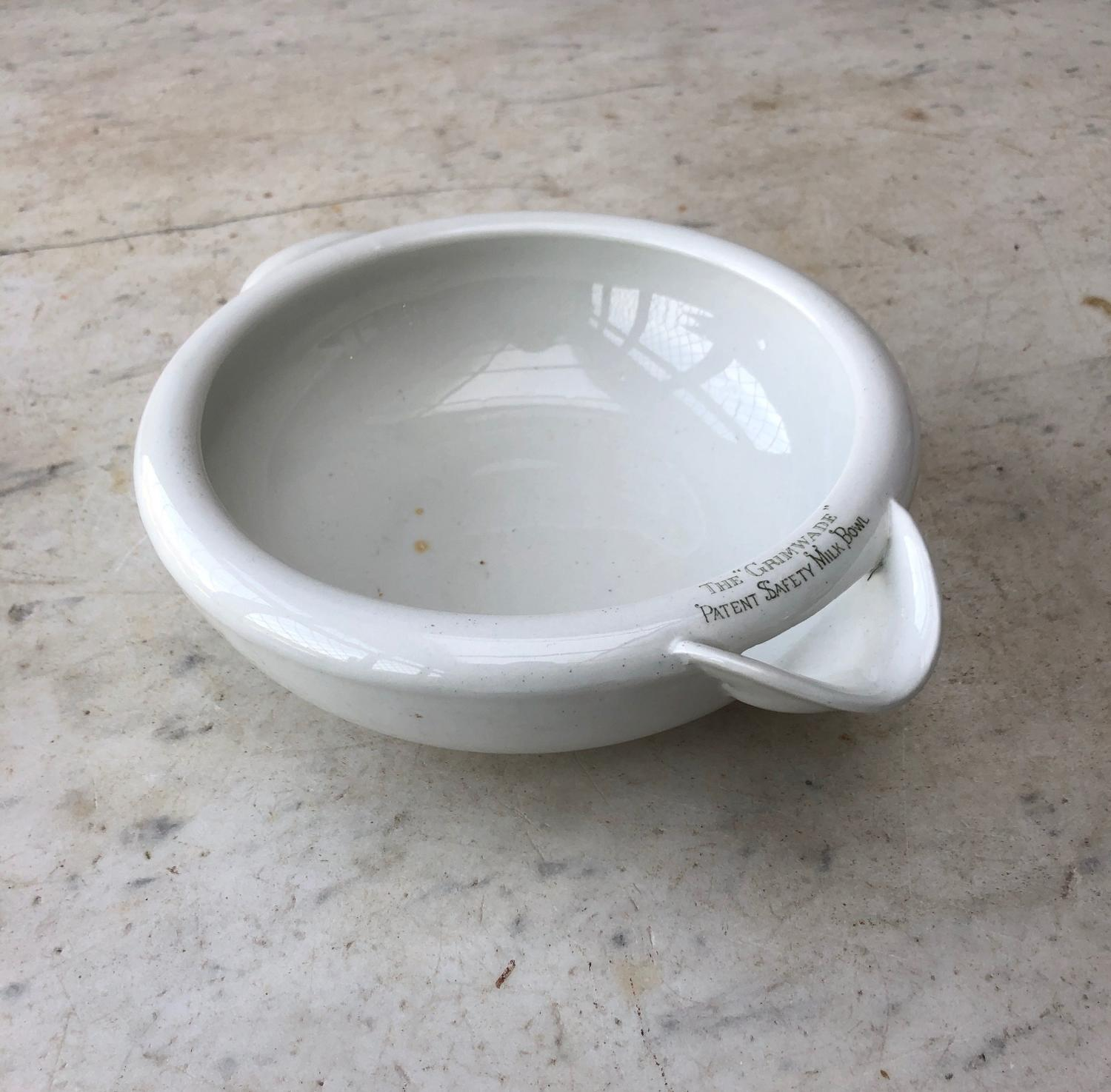 Early 20thC Grimwades Safety Milk Bowl - Nicer Version Writing on Top