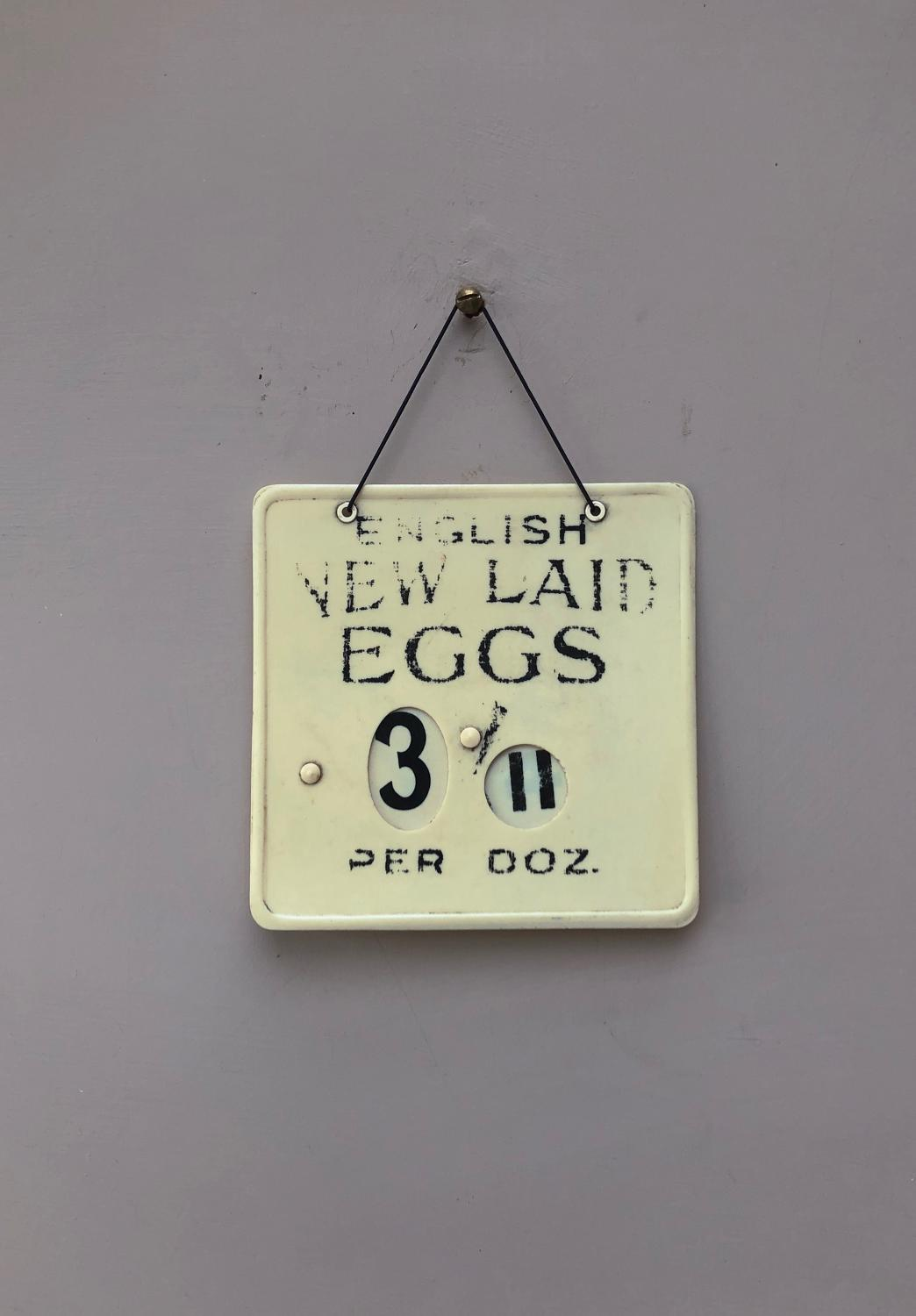 Late 1940s Shops Eggs Sign with Adjustable Price