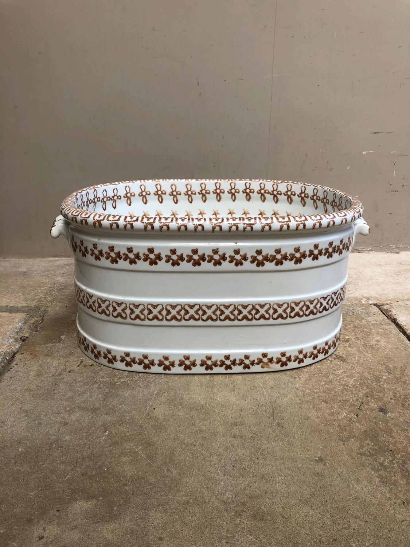 Late Victorian Very Unusual Spongeware White Banded Footbath.