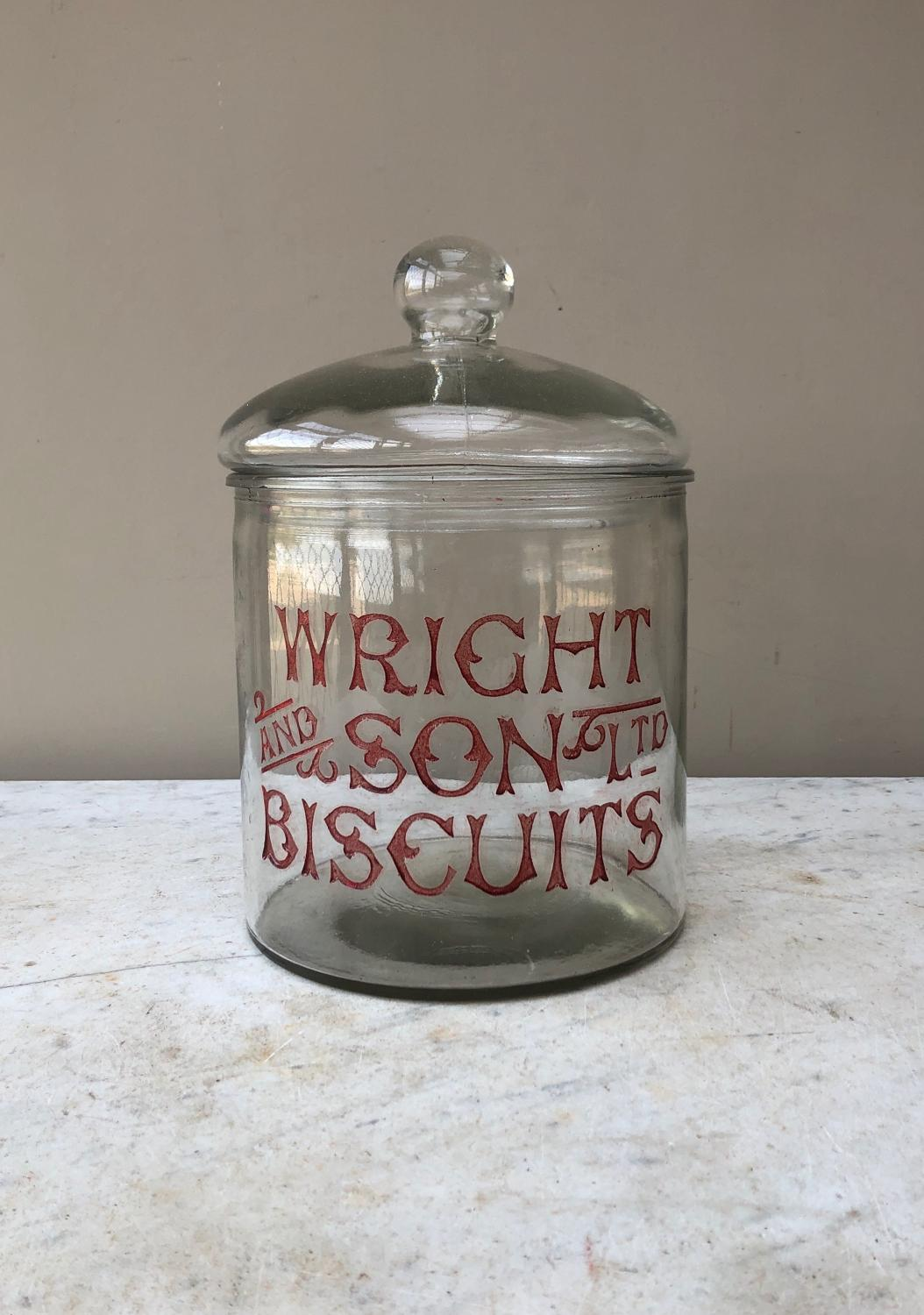 Edwardian Large Shops Glass Advertising Jar - Wright and Son Biscuits