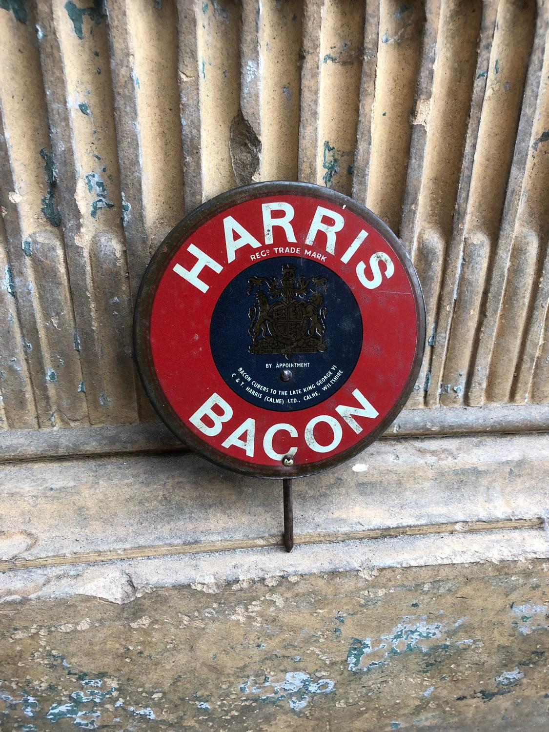 1950s Excellent Condition Butchers Shops Sign - Harris Bacon By Appt