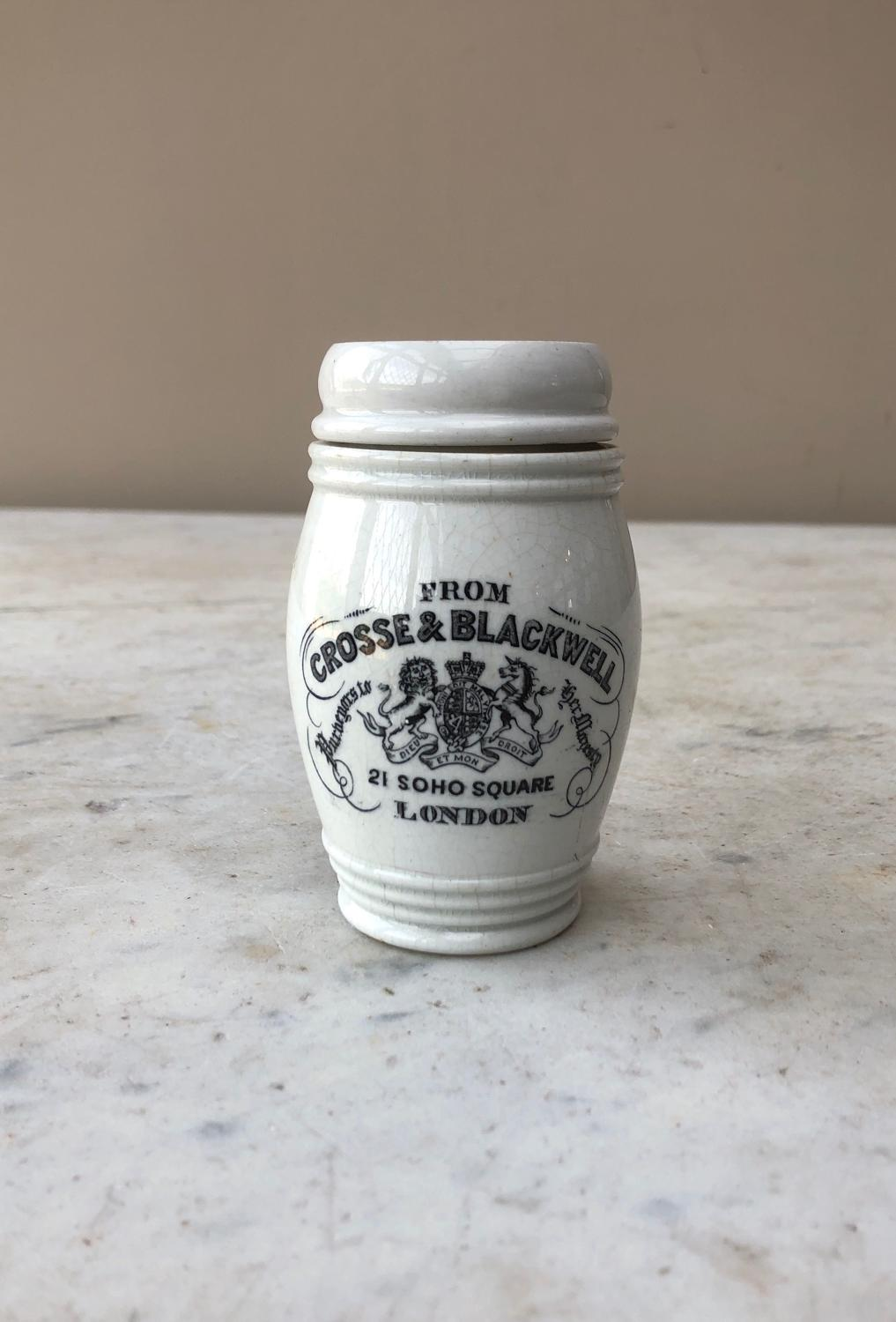 Rare Late Victorian Crosse & Blackwell Anchovy Paste Jar - With Lid
