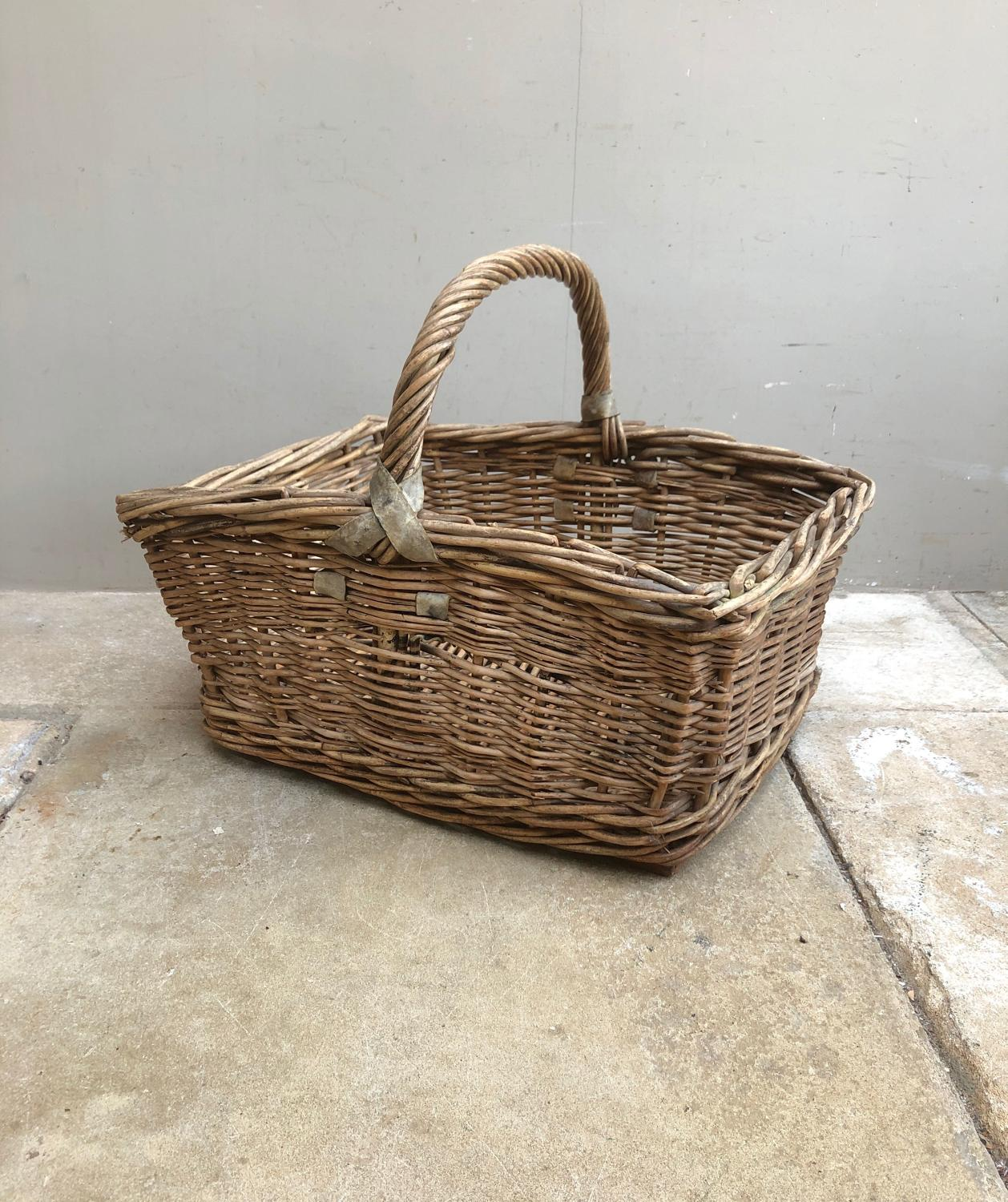 Early 20th Century Leather Strapped Bakers Basket