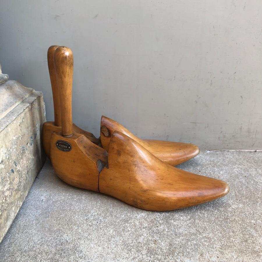 Late 19thC Treen Shoe Trees - Brass Plaque Manfield & Sons Northampton