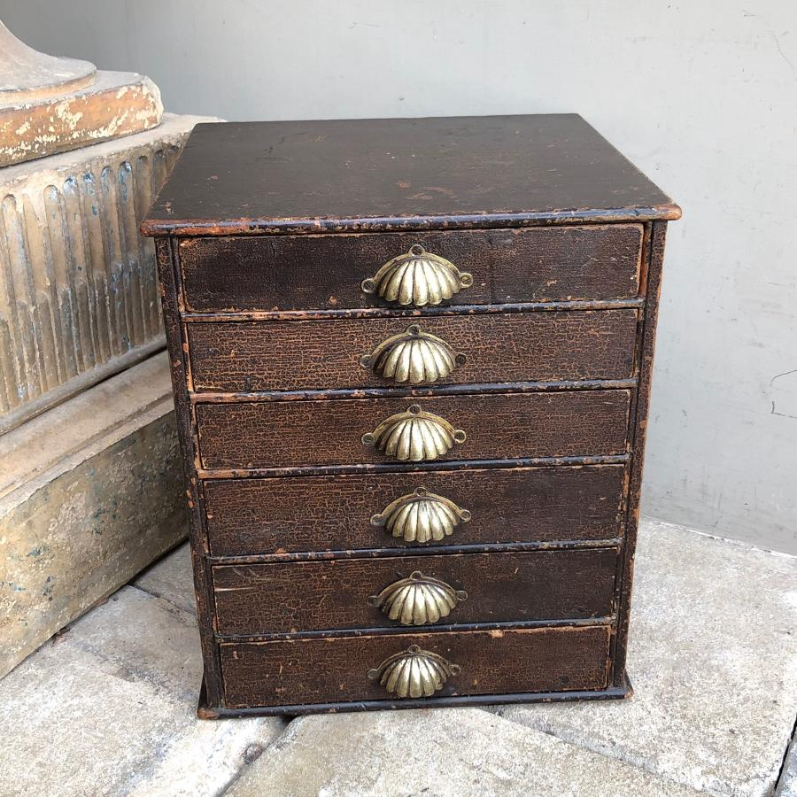 Late Victorian Pine Flight of Six Drawers - Superb Original Paint