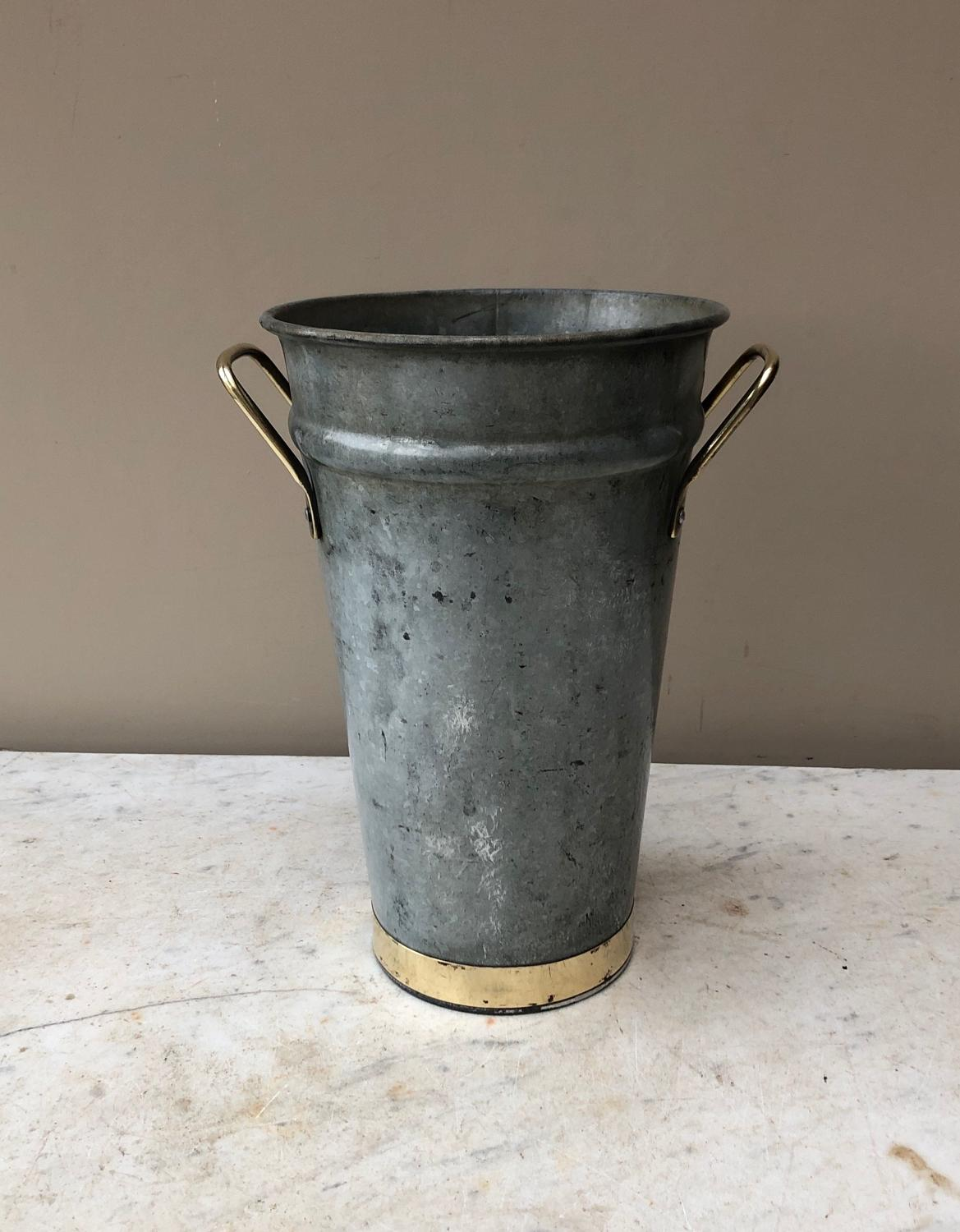 Early 20th Century Florists Vase with Brass Trim & Handles