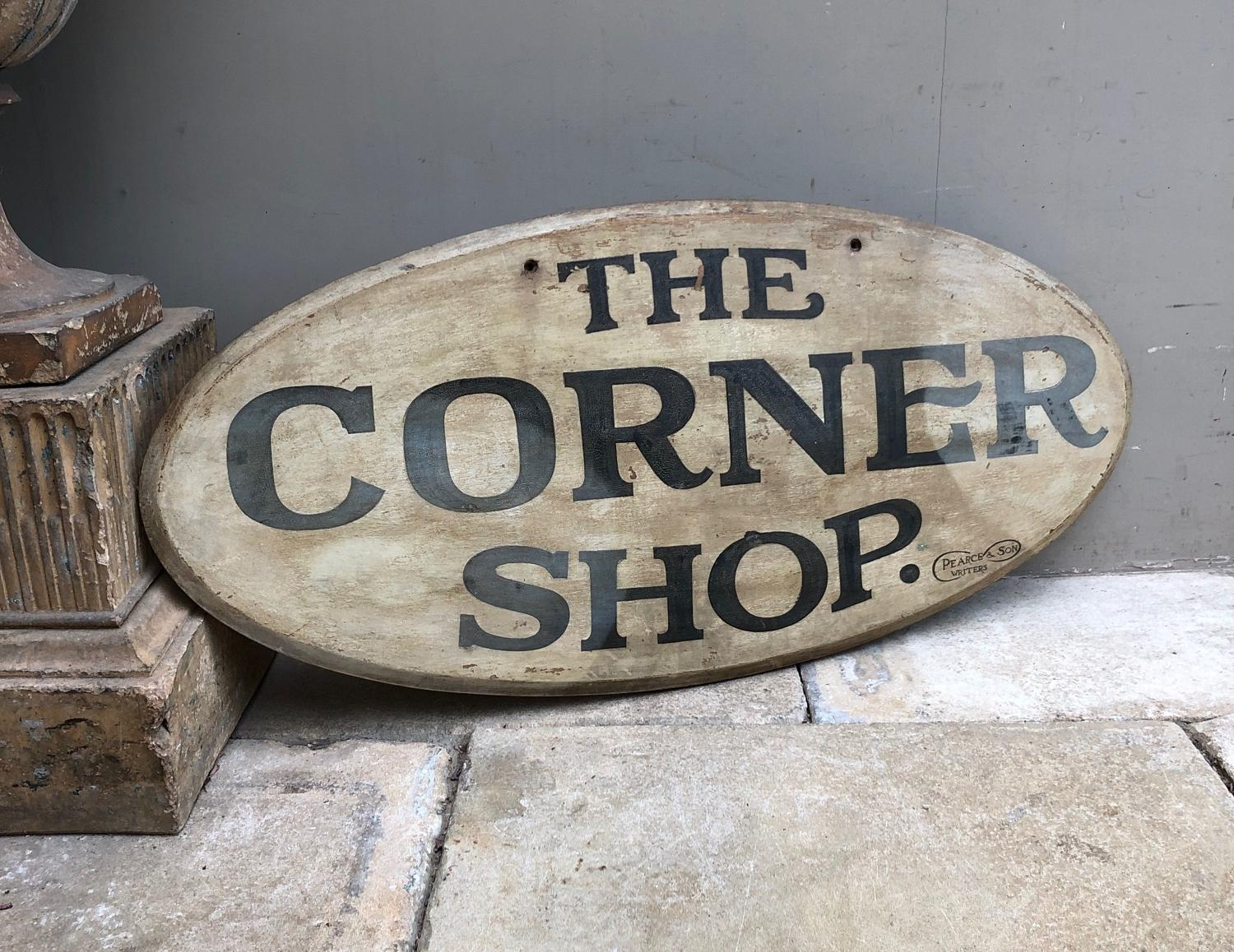 C.1940s Large Painted Pine Sign - Original Paint - The Corner Shop