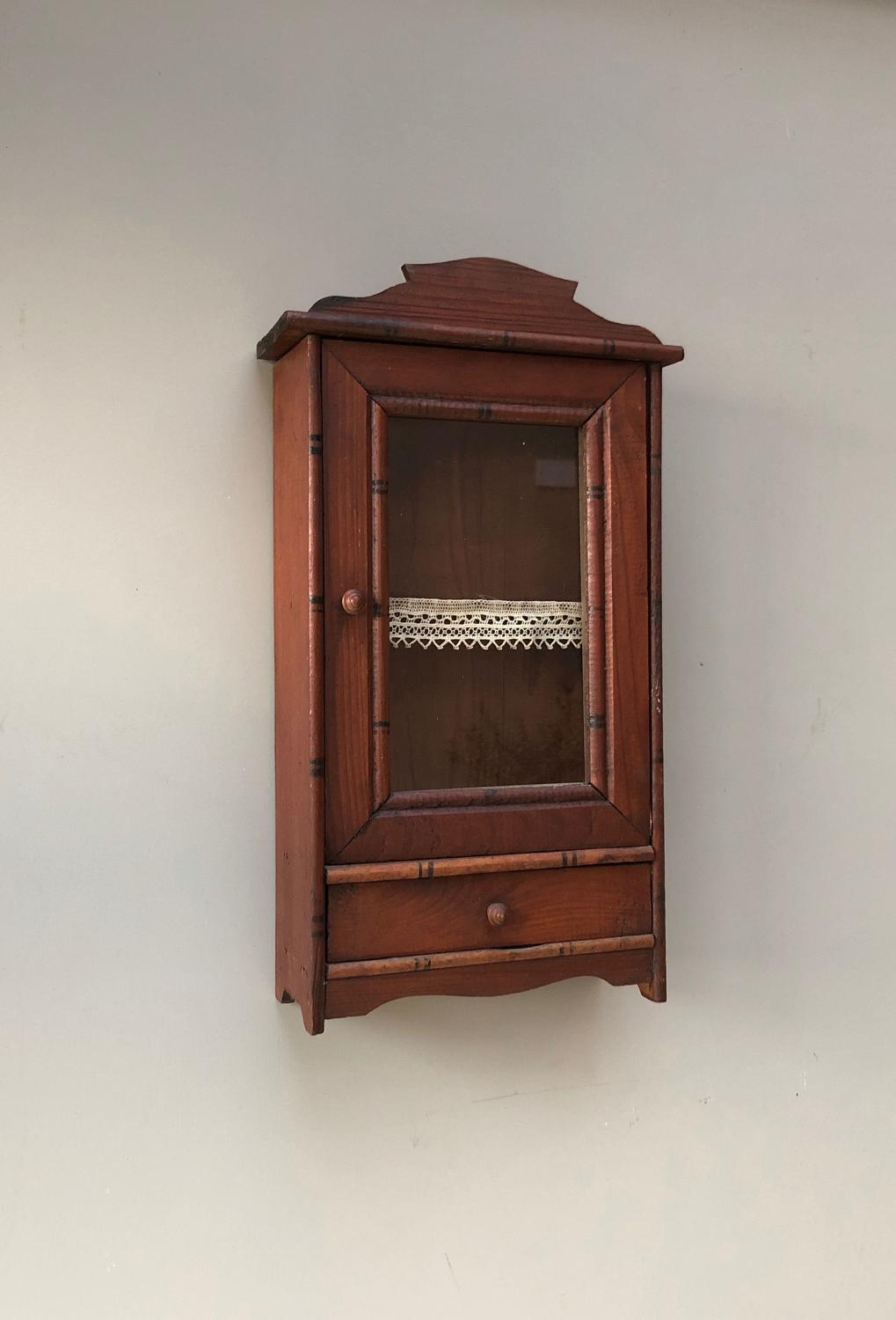 Small Early 20th Century Pine Wall Cupboard - Original Paint