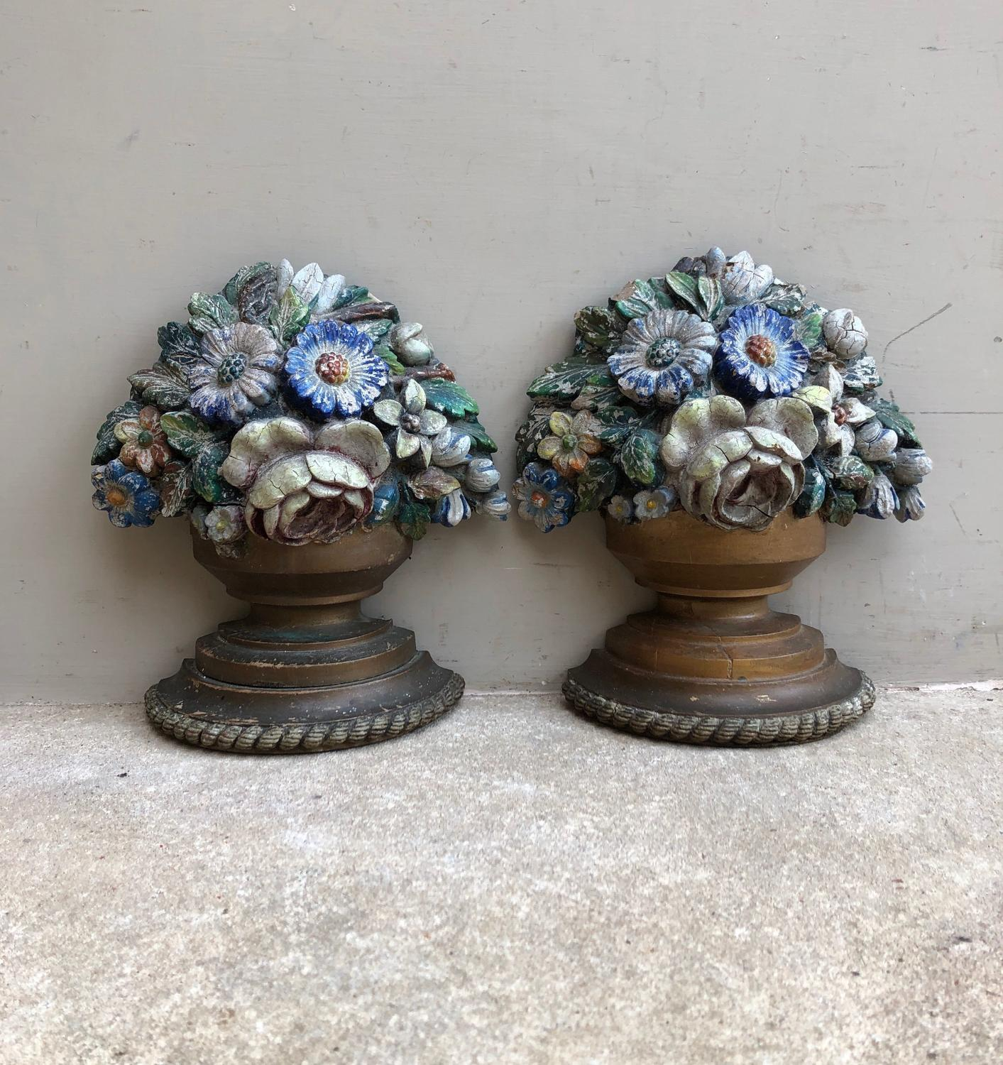 Early 20th Century Pair of Painted Plaster Floral Bookends